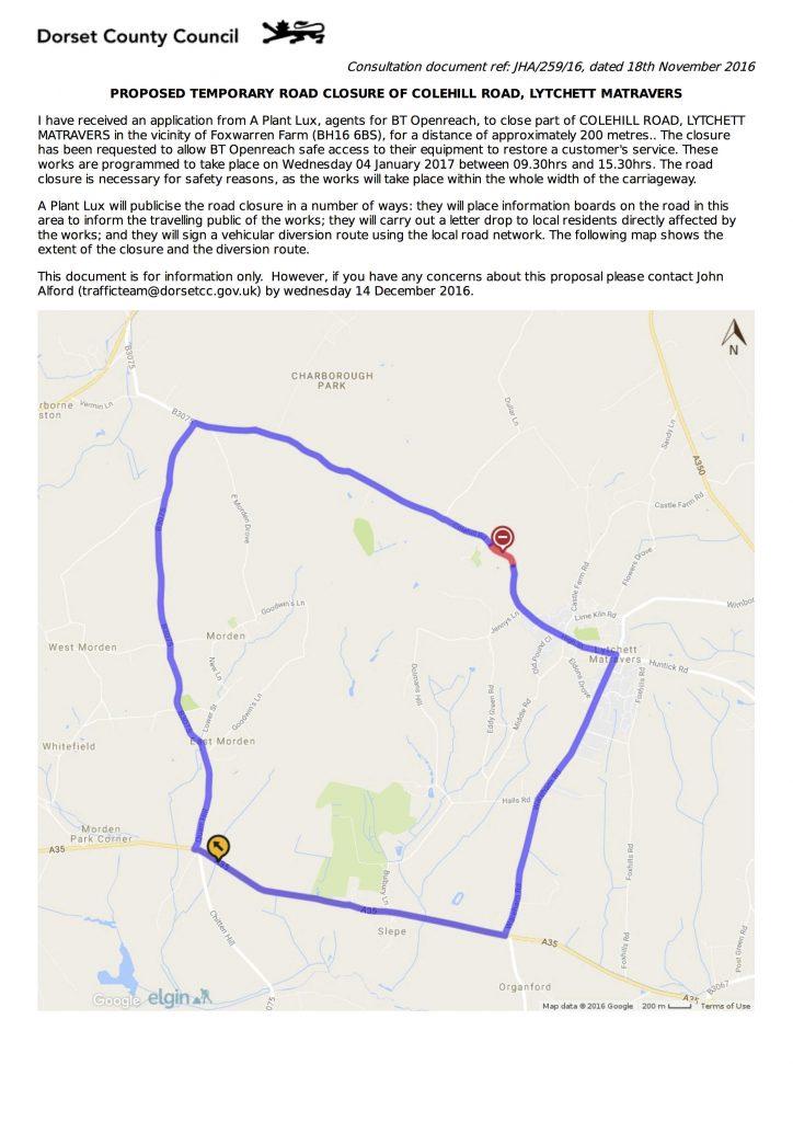Road Closure - Colehill Road Jan2017
