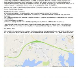 Temporary Traffic Management Order on A35 & A350