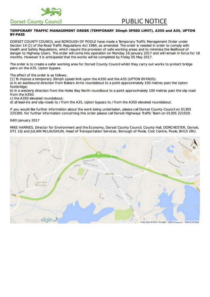 Upton Bypass Traffic Order Jan17