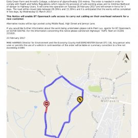 Temporary road closure – Eddy Green Lane, Lytchett Matravers (Feb2017)