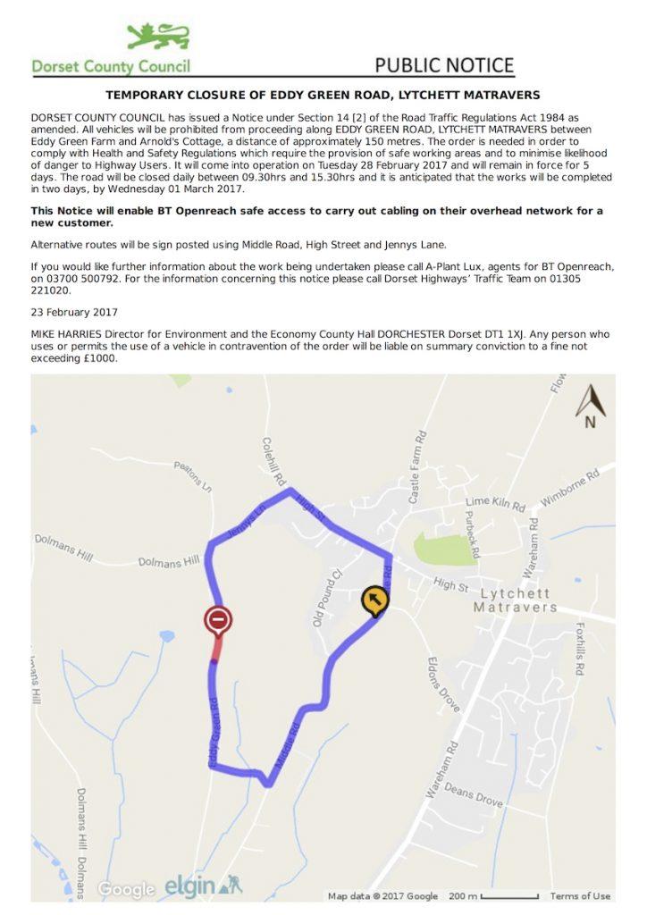 Temporary Road Closure: Eddy Green Road