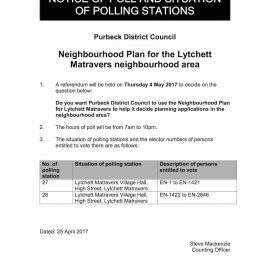 Lytchett Matravers Neighbourhood Plan Notice of Poll - 4th May 2017