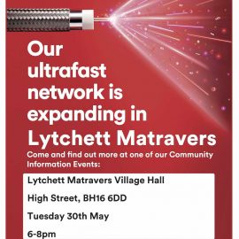 Virgin Media poster inviting attendees to a discussion about expansion of their ultrafast network into Lytchett Matravers
