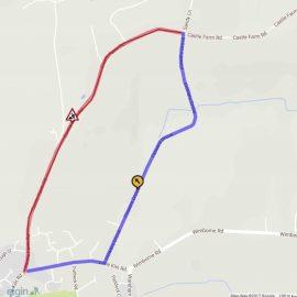 Map of Castle Farm Road roadwork diversion