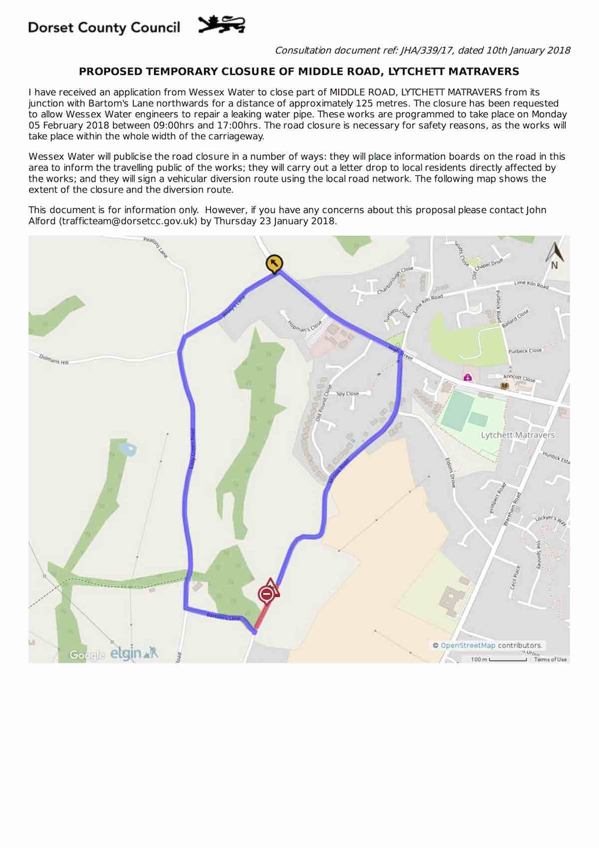 middle road closure feb18