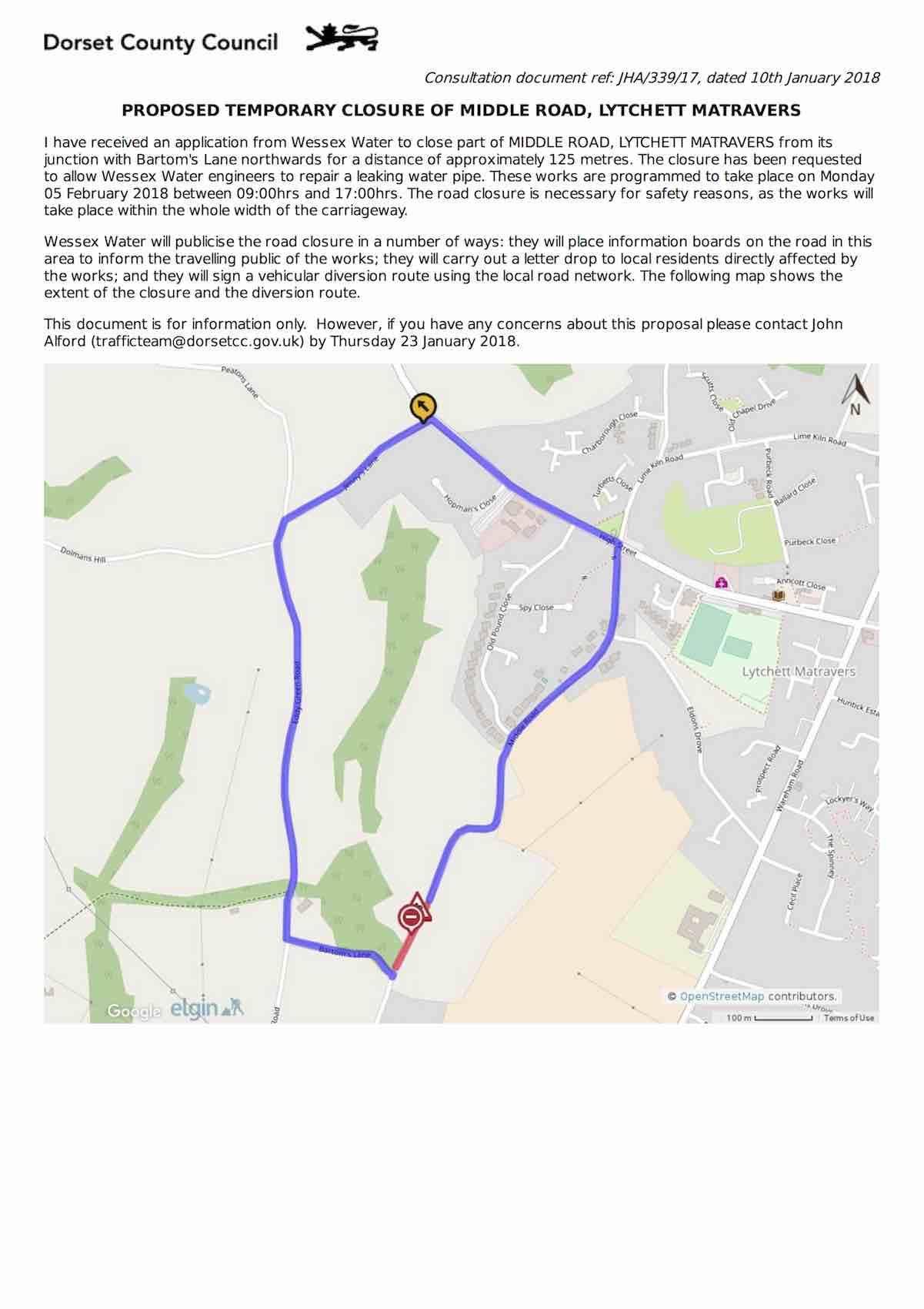 middle road closure feb18