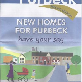 """Photo of the front page of """"About Purbeck"""" advertising the new homes consultation"""