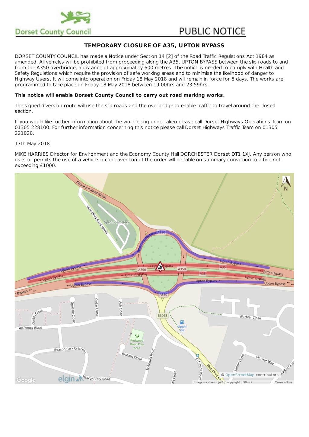 temp closure of A35 May 2018