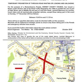 Temporary road closures around Lytchett for Remembrance Parade