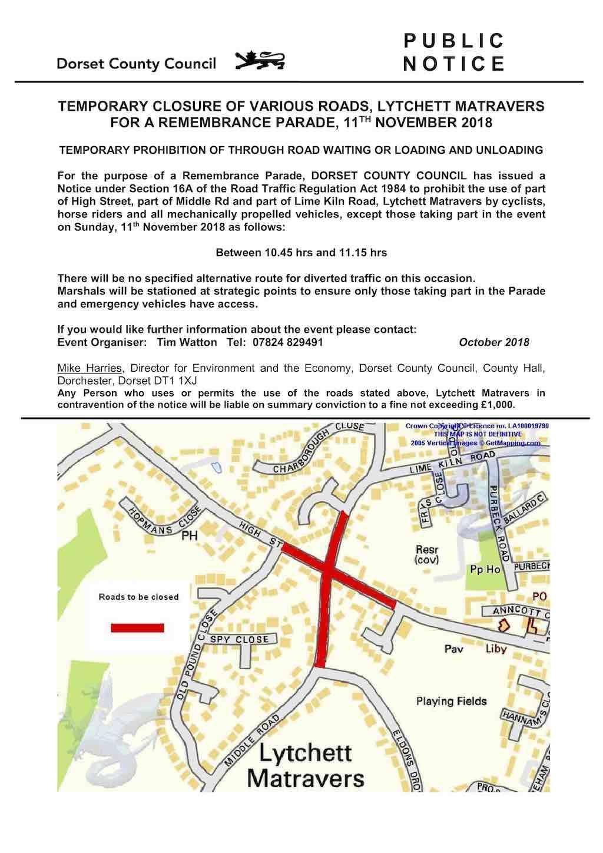 Remembrance Parade road closure 2018