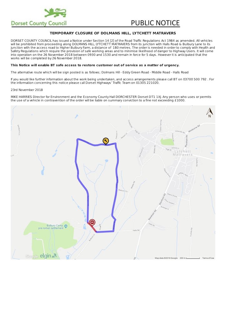 Dolmans Hill closure notice