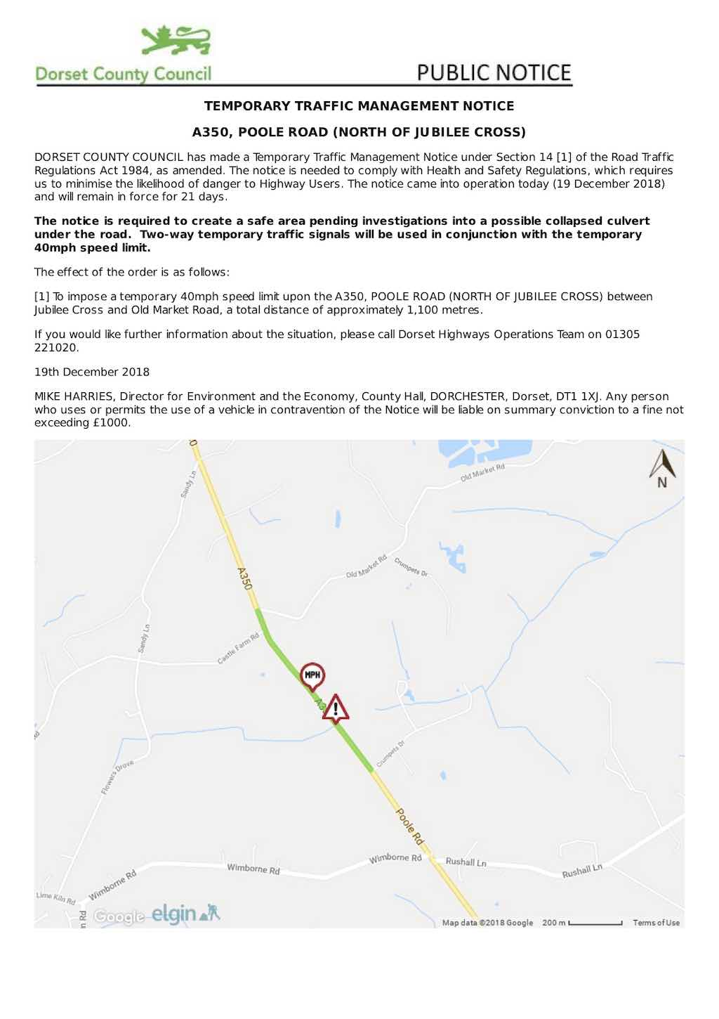 A350 temporary road works Dec18