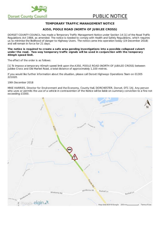 A350 temporary road works Dec18