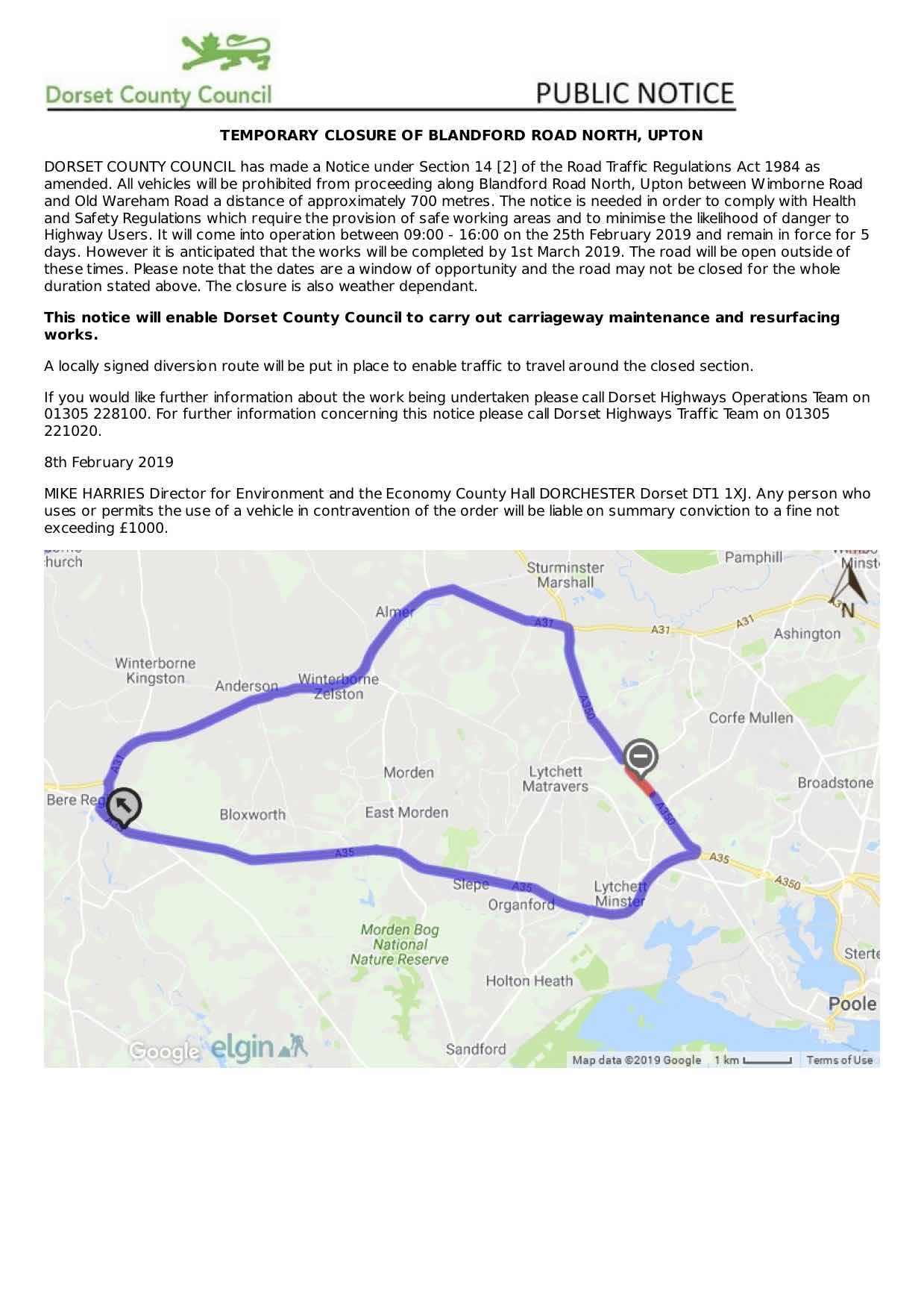 temporary road closure blandford road north