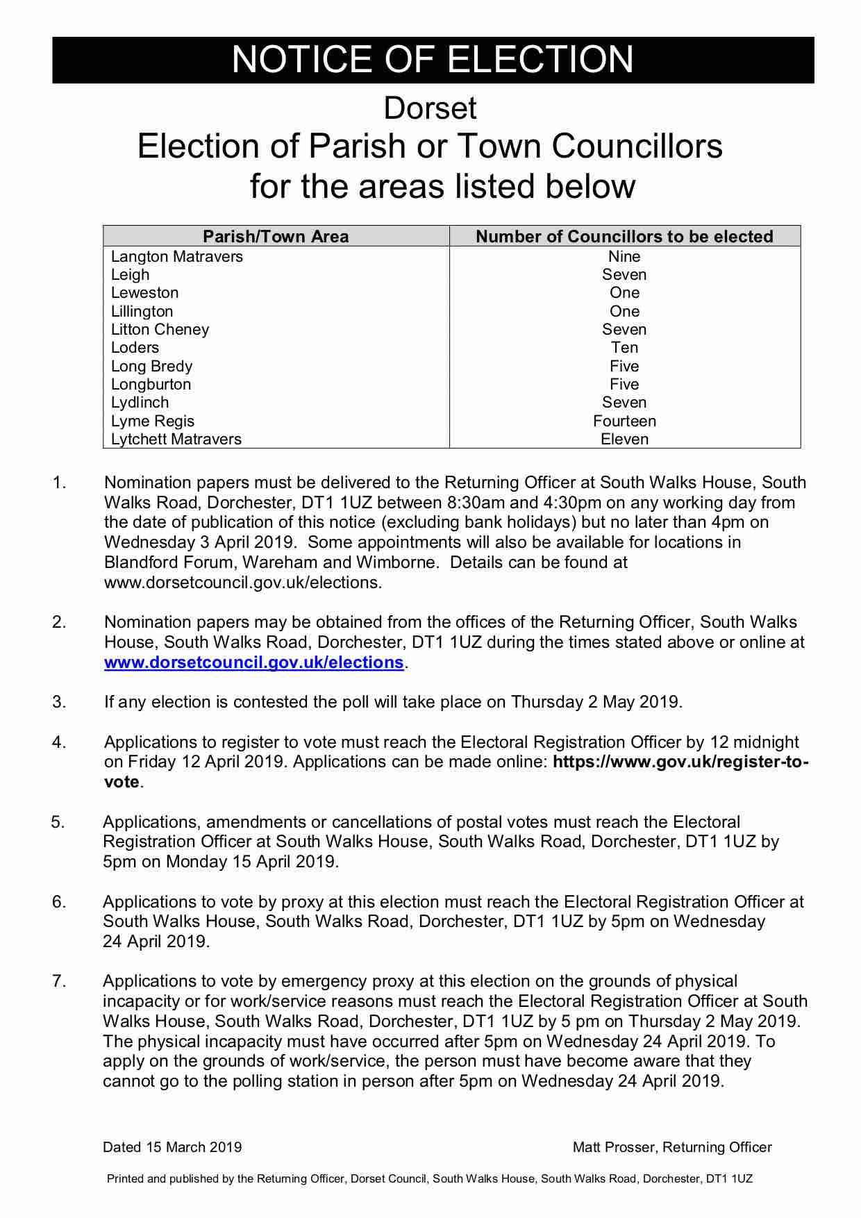 Notice of Lytchett Matravers Parish Council elections 2019