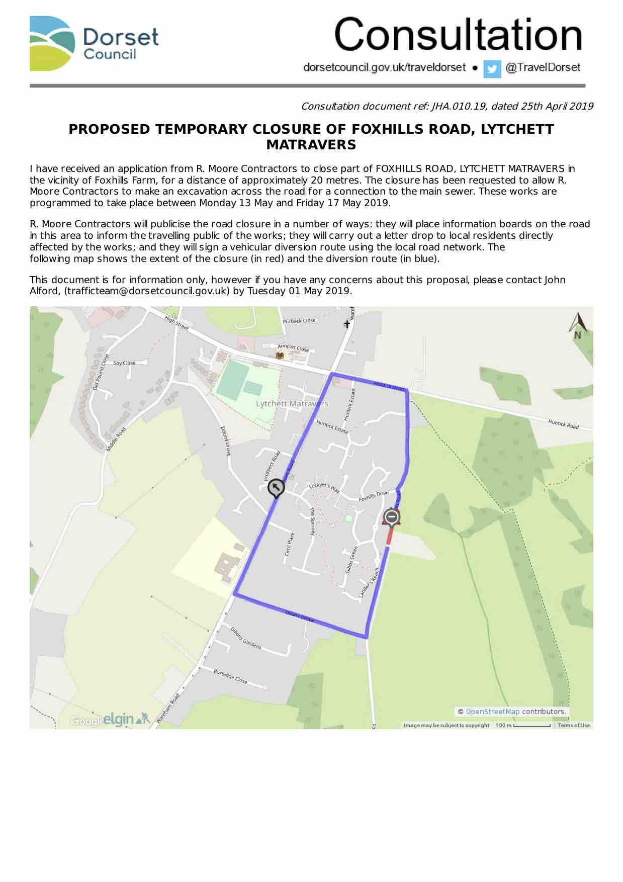 Proposal for Foxhills Road closure May 2019