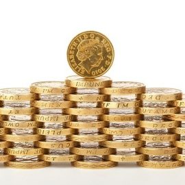 Photo of pound coins used to represent funding