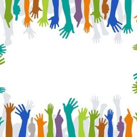 Graphic of circle of hands to represent volunteers