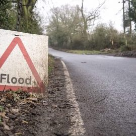 Dorset road drainage flood sign