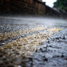 Image of lots of rain water on road