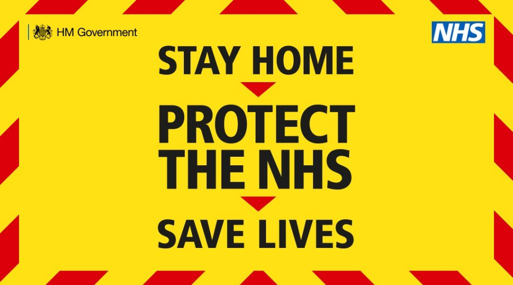 "Poster image of the ""Stay home, protect the NHS, save lives"" government message"