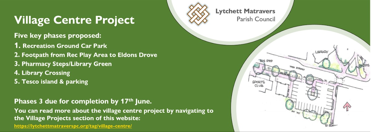 Image containing Lytchett Matravers logo and list of current village projects. You can read more about the village centre projects by navigating to the Village Projects section of this website and by clicking on the following link https://lytchettmatraverspc.org/tag/village-centre/