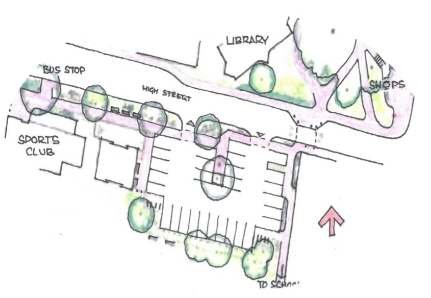 Image of an artist's sketch of Lytchett Matravers High Street between the Sports Club and Library. This area is known as the Village Centre
