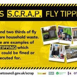 Decorative image of the Let's SCRAP fly tipping flyer/banner