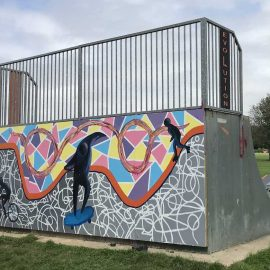 Photo showing the mural on the Skate Park
