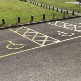 Image of the disabled bays by the Village Hall (upper car park)