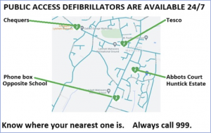Map showing the four village defibrillators (links to main defib page)